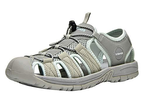 Knixmax-Sandalias de Senderismo Verano para Hombre Mujer Verano Exterior Senderismo Ligeras Antideslizantes Zapatillas Trekking Deportivas Casuales Sandalias de Playa, EU40(UK7) Grey