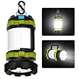 LED Camping Lantern, Rechargeable Portable Lantern Flashlight, 6 Modes, 3600mAh Power Bank, Two Way Hook of Hanging, Perfect for...
