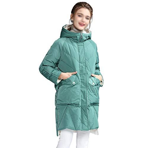 DRT warme knielengte, witte eend winter, met capuchon voor vrouwen