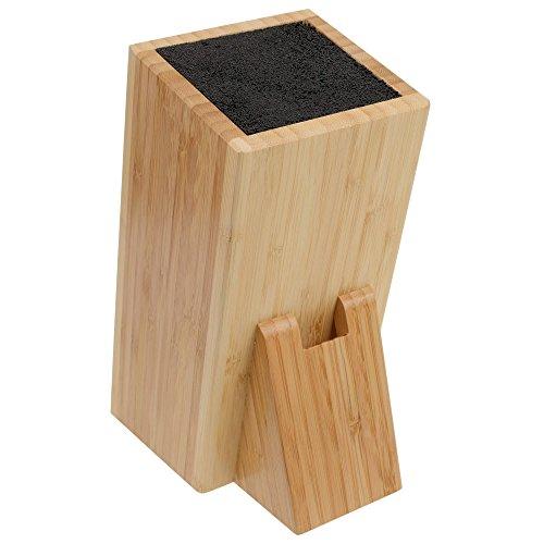 GRÄWE Universal-Messerblock aus Bambus mit Borsten-Einsatz und Scheren-Schlitz, eckig, 24 × 11 × 17 cm, ohne Messer
