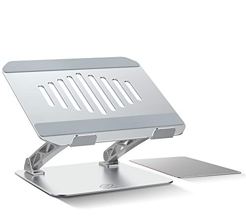 Adjustable Ergonomic Laptop Stand , Aluminum Computer Riser with Anti-Slip Silicone tads Airflow Holes,Compatible with Most Laptops Macbooks(Including Aluminum Mouse Pad)