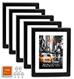 """CAVEPOP 8x10 Black Picture Frames 5-Sets, Made to Display (9.5 x 11.5 Ivory Color Mat 8x10"""") Collage Picture Frame Sets"""