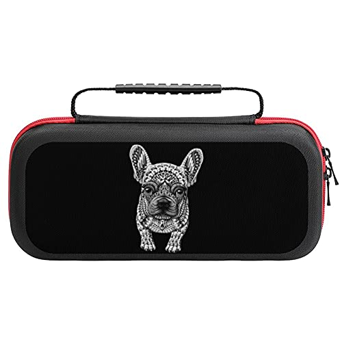 Frenchie French Bulldog Carrying Storage Cases for Nintendo Switch Protective Portable Hard Shell Pouch Carrying Travel Game Bag