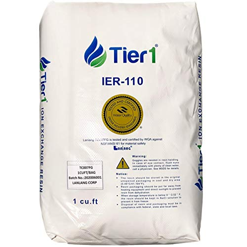 Tier1 IER-110 Ion Exchange Water Softener Resin - 1 Cubic Foot - Single Bag - Ideal for Residential or Commercial Use - Reduces Soap Scum and Limescale