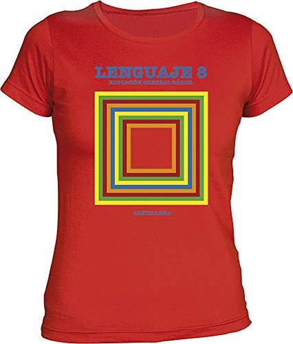 Camisetas EGB Camiseta Chica Libro Lengua EGB ochenteras 80´s Retro (S, Rojo)