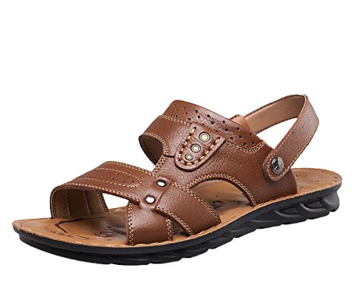 Icegrey Hommes Sandales Ouvertes Tongs De Plage Chaussons Antiderapant Marron 46