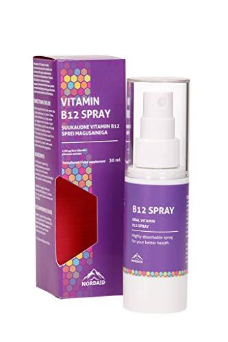 Nordaid Vitamina B12 Spray Oral 1200 mcg Refuerza el sistema inmunitario y sistema nervioso, reduce la fatiga, aumenta los niveles de energia - 30 ml