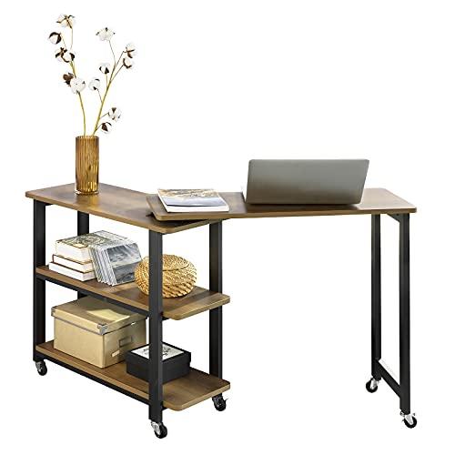 New SoBuy Tavolino da caffè con ruote Tavolino a forma di L con 2 ripiani, Scrivania ad angolo Stile industriale, L133xP69xA30cm, FWT83-PF(Marrone)