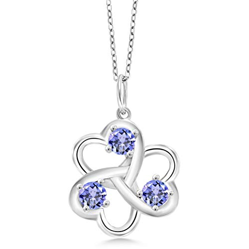 Gem Stone King 925 Sterling Silver Blue Tanzanite Women's 3 Hearts Interlock Pendant Necklace, 0.90 Ct Round with 18 Inch Silver Chain