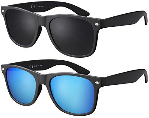 La Optica B.L.M. Sonnenbrille La Optica Herren Damen UV400 CAT 3 Retro Sonnenbrillen Set - Doppelpack, 53, Doppelpack Matt Schwarz