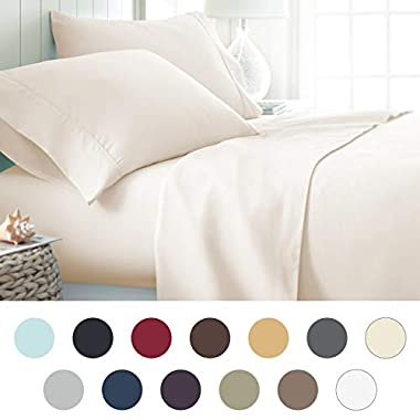 ienjoy Home Hotel Collection Luxury Soft Brushed Bed Sheet Set, Hypoallergenic, Deep Pocket, Queen, Ivory