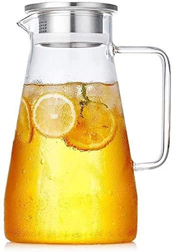 Jarra de vidrio Tetera de cristal de la tetera Tetera helada con hielo muy adecuada para taza de café caliente Jugo de vino Hot y frío Cepillo de alterno Copa de té (tamaño: 12 × 21 × 9.2cm)