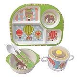 Shopwithgreen - Set di stoviglie per bambini, in fibra di bambù, con piatto a scomparti, ...