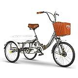 OHHG Triciclo Adultos Cesta la Compra Bicicleta Tres Ruedas Triciclo 20 Pulgadas Bicicleta Compras Picnic Deportes al Aire Libre Hombres Mujeres