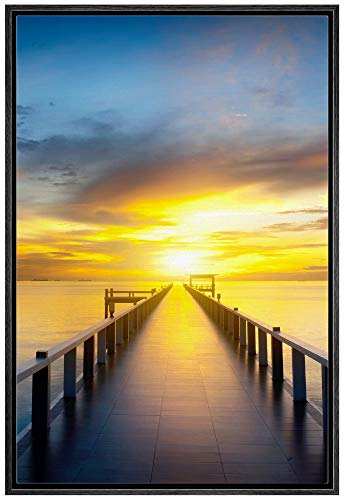 NWT Framed Canvas Wall Art for Living Room, Bedroom Gorgeous Sunset Beach Sea Ocean Canvas Prints for Home Decoration Ready to Hanging - 24x36 inches
