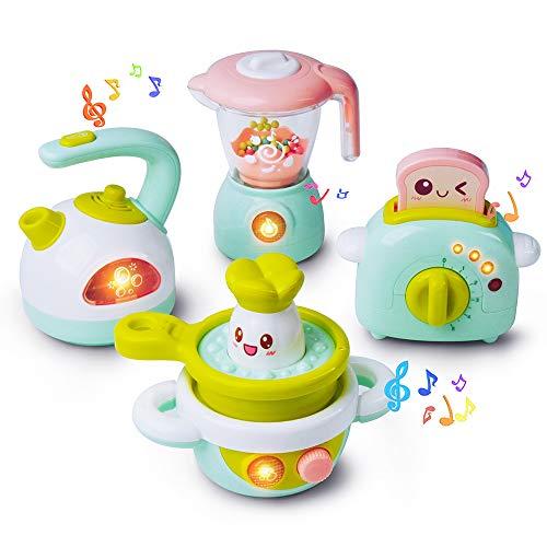 GizmoVine Kinderküche Zubehoer Baby Spielzeug Spielküche Zubehör Geschirrset Spielküche für Mädchen Babys Kind