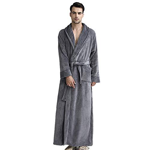 Albornoz Grueso de Invierno Otoño Bata de Baño Kimono Unisex para Hombre Mujer Ropa de Dormir Pijama para Hotel Casa Piscina Grigio XL