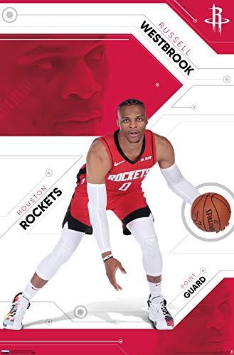"Trends International NBA Houston Rockets - Russell Westbrook, 22.375"" x 34"", Premium Unframed"