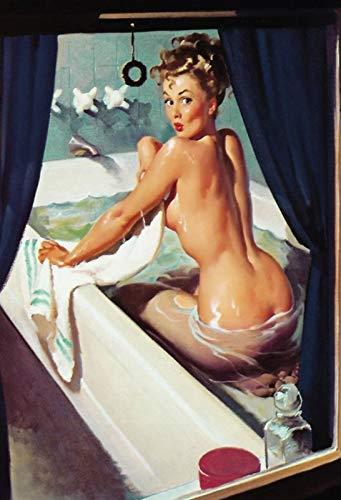 NWFS FS Pinup Girl in de badkuip metalen bord bord Metal Tin Sign gewelfd gelakt 20 x 30 cm