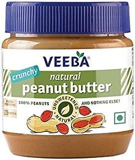 VEEBA Natural Peanut Butter Crunchy - Unsweetened, (100% Peanuts) Jar, 340 g