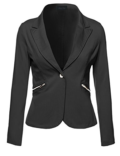 Business Office Wear Long Sleeve One Button Fly Blazer Black S Size