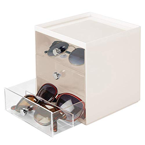 mDesign Stackable Plastic Eye Glass Storage Organizer Box Holder for Sunglasses, Reading Glasses, Accessories - 3 Divided Drawers, Chrome Pulls - Cream/Clear