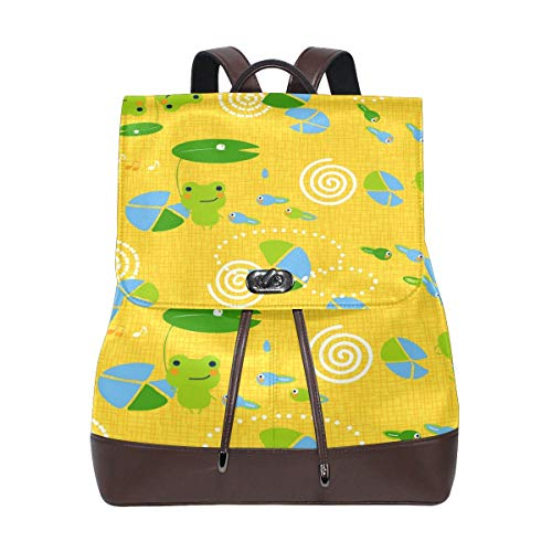 Yuanmeiju Leather Backpack Rucksack Abstract Pond Cute Frog Seamless Pattern Daypack Bags for Girls Boys