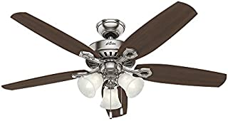 HUNTER 53237 Builder Plus Indoor Ceiling Fan with LED Lights and Pull Chain Control, 52