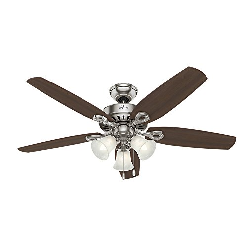 HUNTER 53237 Builder Plus Indoor Ceiling Fan with LED Lights and Pull Chain Control, 52', Brushed Nickel