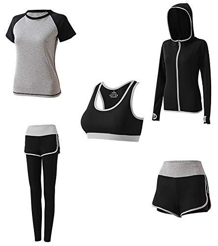 AFDLT Dames Yoga Sport Fitness Bh, Hoge taille Tight Leggings, Indoor Vrije tijd Shorts, Snelle droge Sweat Coat, Ademend T-shirt,5 Stuks Set