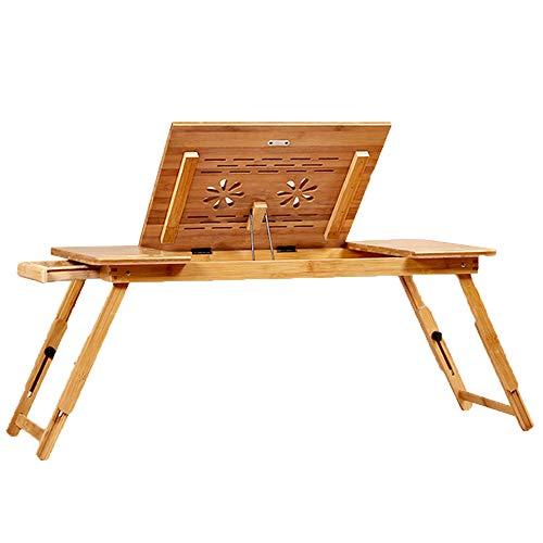 LVZAIXI Plateau de lit Table Petit déjeuner Service Bureau Table d'ordinateur Portable en Bambou réglable Table Pliante avec Porte-Tasse, Une variété de Tailles Disponibles