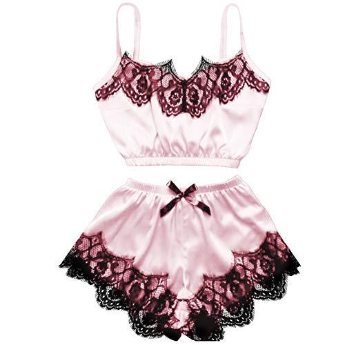 DondPO Frauen Sexy Tops Shorts Spitze Bowknot Nachthemd Camisole Pyjamas Unterwäsche Set Damen Nachtwäsche Floral Lace Trim Satin Cami Pyjama Mesh Dessous (Pink 3, M)