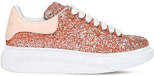 Alexander McQueen Pink Oversize Glitter Low Top Sneakers New/Authentic FW20 (Numeric_6_Point_5)