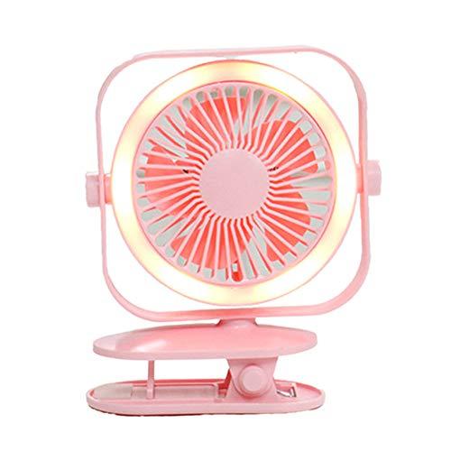 Wiederaufladbarer USB-Clip-Lüfter Mini-Tischlüfter mit LED-Licht Tragbarer Tischlüfter 360 ° voll verstellbarer Kopf, ideal für Kinderwagen, Büro, Zuhause, Reisen