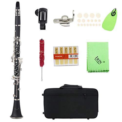 Juego de clarinete, clarinete, portátil, profesional, premium, tubo de baquelita bB, 17 teclas, clarinete con botón de niquelado antioxidante, para estudiantes principiantes(Negro)