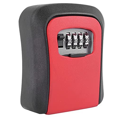 CKMSYUDG Caja roja de la cerradura de la llave de la contraseña Caja de llave montada en la pared de la aleación del cinc a prueba de mal tiempo 4 dígitos