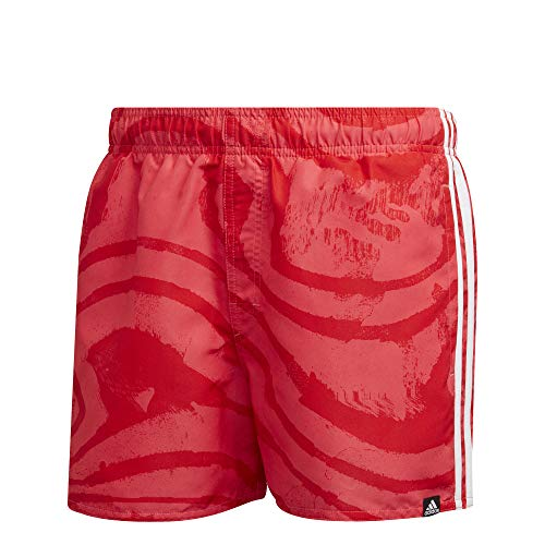 adidas 3S AOP Sh VSL, Costume da Bagno Uomo, Rosso, XS