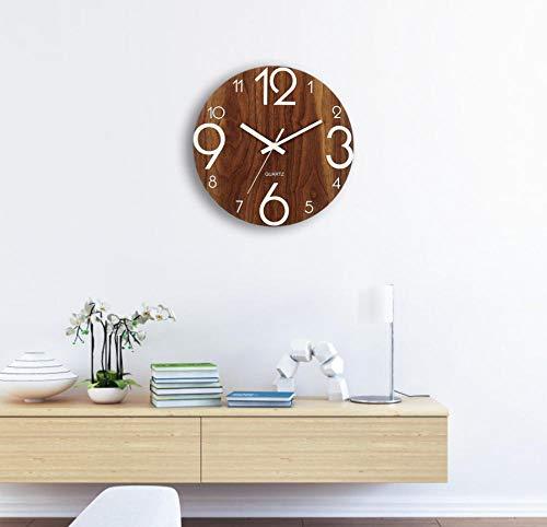 Wandklok Houten Wandklok Lichtgevend Aantal Hangende Klokken Stille Donkere Glanzende Klokken Moderne Wanddecoratie Voor De Woonkamer