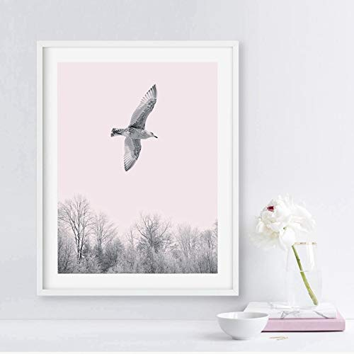 Pájaros volando lienzo decoración mural, rosa árbol paisaje lienzo mural imagen decoración de la sala decoración de la sala20x25 cm sin marco