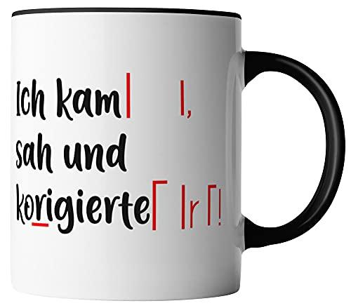 vanVerden Tasse - Ich kam sah und korrigierte - beidseitig Bedruckt - Geschenk Idee Kaffeetassen, Tassenfarbe:Weiß/Schwarz