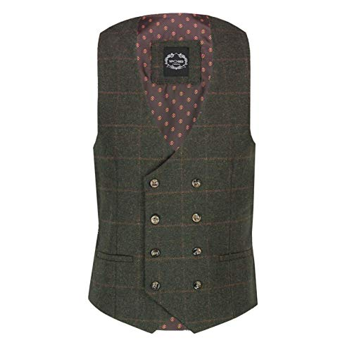 Xposed Jude Men's Classic Tweed Control Doppi Breeded Gilet 1920S Gatsby Retro Tailored Fit[WDB-JUDE-GREEN-56EU]
