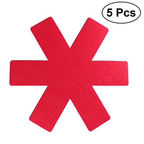 UPKOCH Protezioni per Pentole E Padelle Set di Protezioni per Pentole Pentole E Padelle Divisori Pentole Separatore Antiscivolo per Evitare Graffi O Incrinature Quando Si Impilano 5 Pezzi (Rosso)