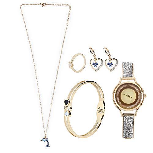 Conjunto de reloj de pulsera, aspecto hermoso de alta calidad con caja de regalo Conjunto de reloj, 2 pendientes para novias niñas(Golden)