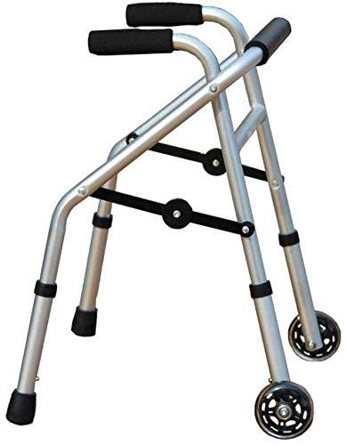 FEE-ZC Algemeen Doel Aluminium Rollator, Lichtgewicht Opvouwbare 2 Wiel Rollator Walker Hulp voor Kinderen Gehandicapten Handrails Crutches, Verstelbare Hoogte 52-62cm, Zilver