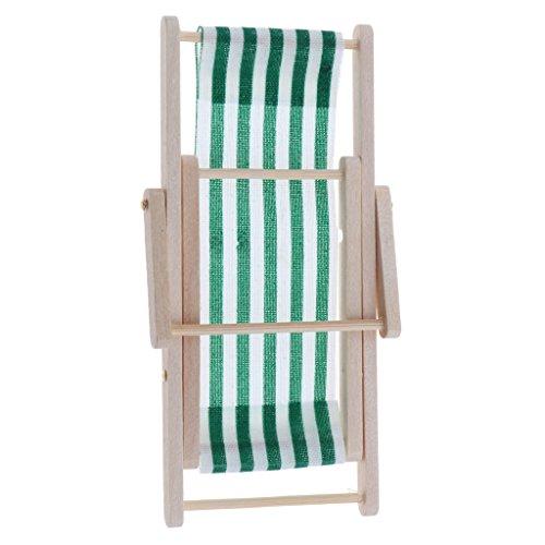 D DOLITY 1/12, casa de muñecas de jardín, muebles en miniatura, silla reclinable plegable de madera, color verde oscuro