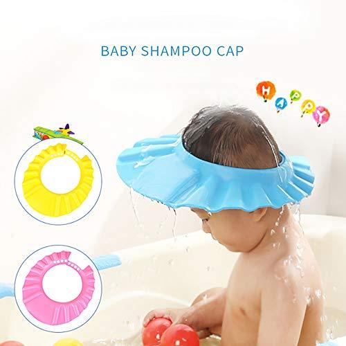 Alecony Kinder Shampoo Duschhaube, Haarwaschhilfe Baden Dusche Schutz Kappe Hut für Baby Kleinkinder, Verstellbar Badekappe, Schützen Bademütze Badeschutz, Augenschutz und Ohrenschutz Duschkappe (BU)