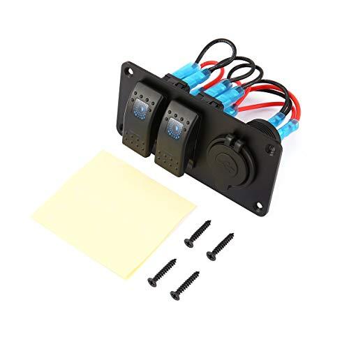 YUIO 2 Gang Car Marine Boot 5-poliger LED-Wippschalter 3.1A Dual USB-Anschlüsse Steckdosenladegerät Wasserdichter Stromkreis - schwarz & rot & blau