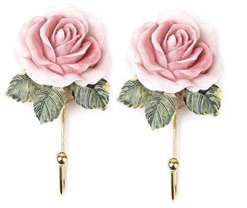 Nalmatoionme Lot de 2 crochets muraux à suspendre en forme de rose