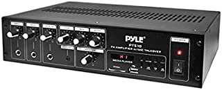 Home Audio Power Amplifier Mixer - 240W 5 Channel Sound Stereo Entertainment Receiver Box w/ FM Radio Antenna, USB, RCA, AUX, LED, 2 MIC IN - For Speaker, Studio Theater, PA System Use - Pyle PT510