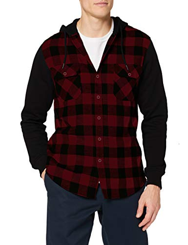 Urban Classics Herren Hooded Checked Flanell Sweat Sleeve Shirt Freizeithemd, Mehrfarbig (blk/burgundy/blk 798), Medium